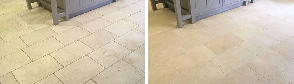Limestone Kitchen Floor Tile Clean and Seal in Shepperton