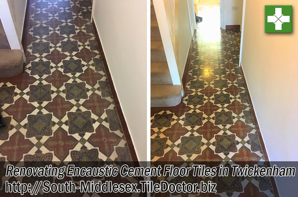 Victorian Encaustic Cement Floor Tiles Before After Renovation Twickenham