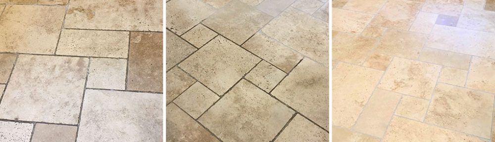 Professional clean of a Travertine Tiled floor in Sunbury-on-Thames