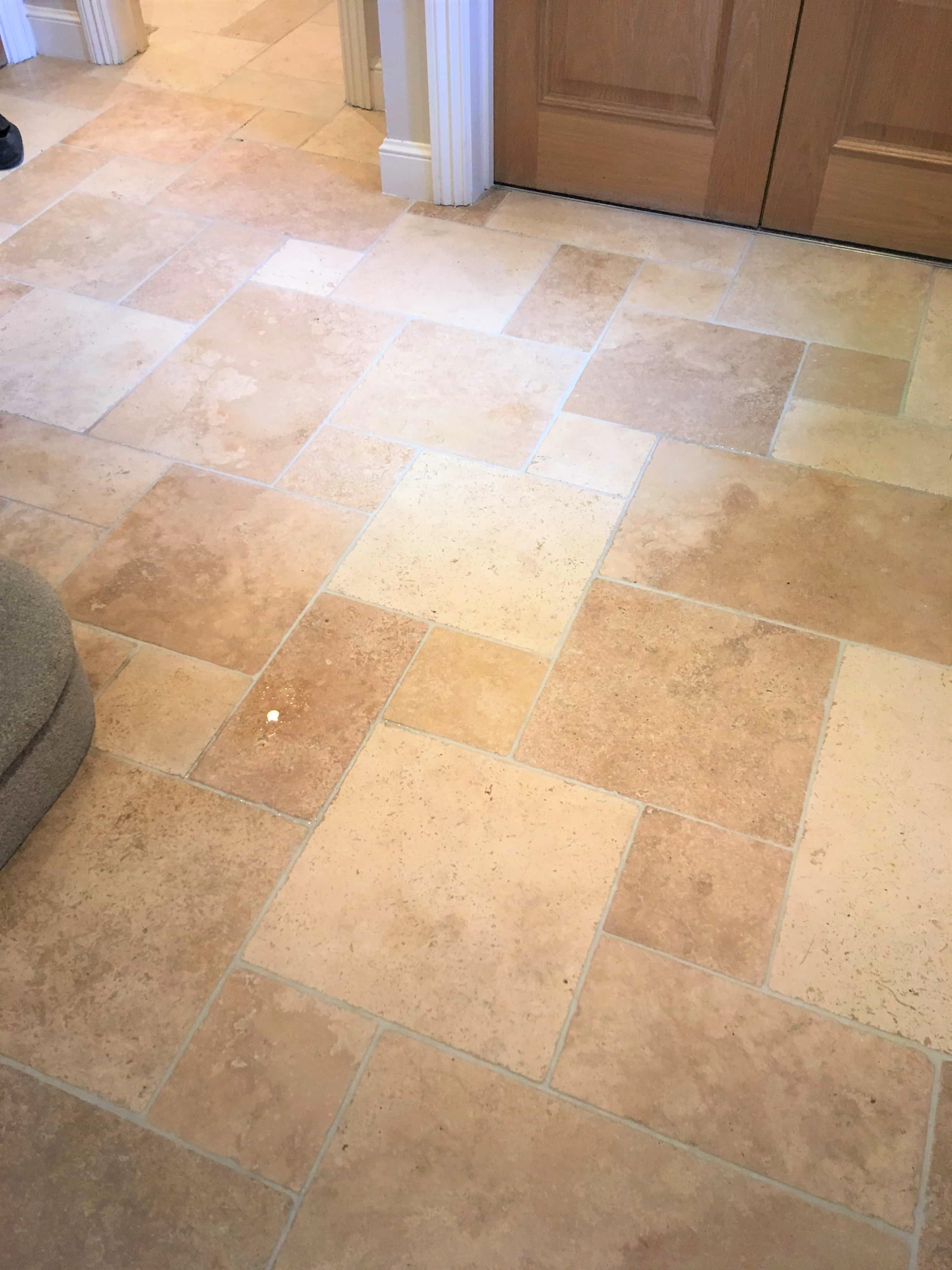 Travertine Tiled Floor After Cleaning Sunbury-on-Thames