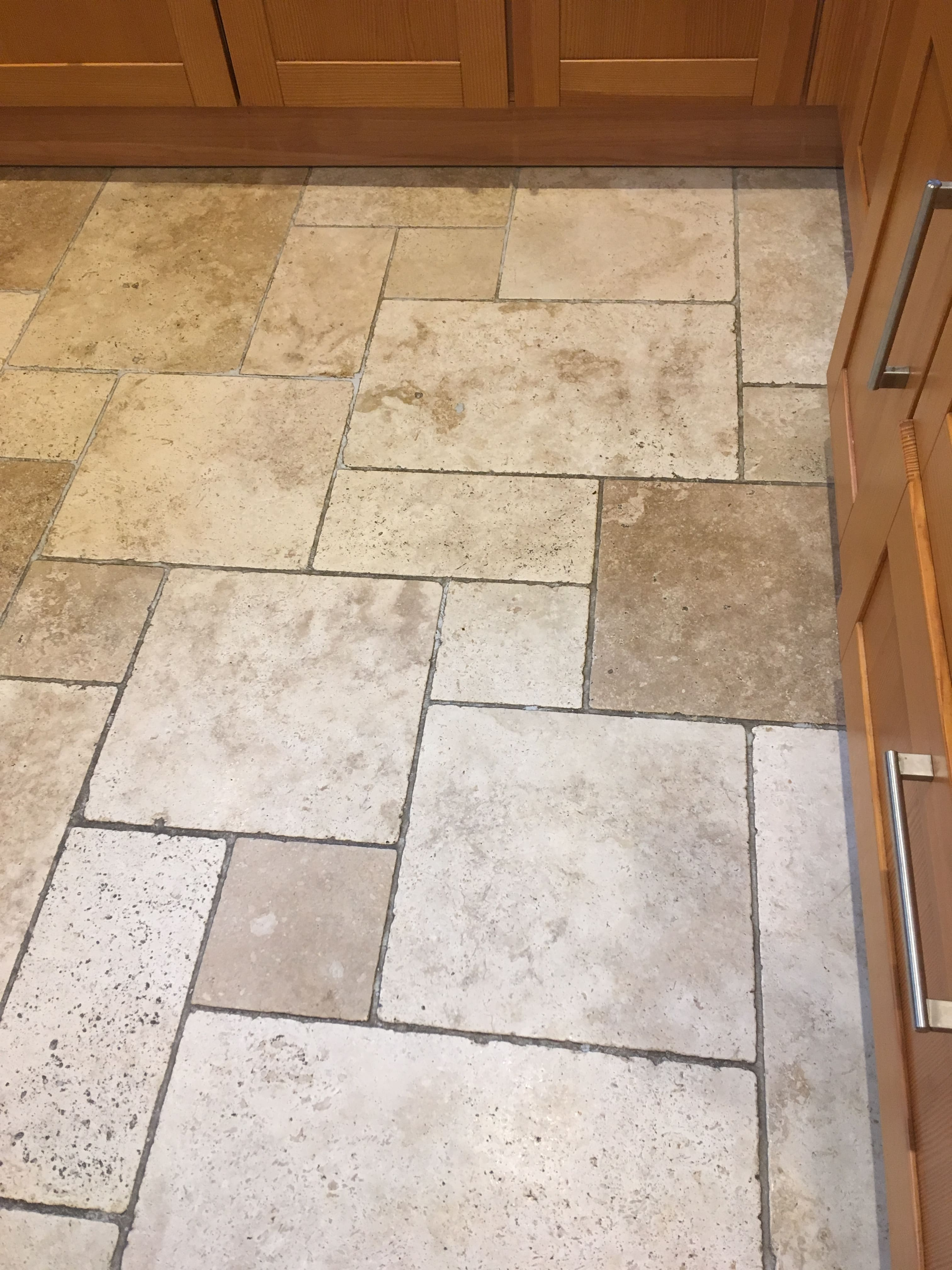 Travertine Tiled Floor Before Cleaning Sunbury-on-Thames