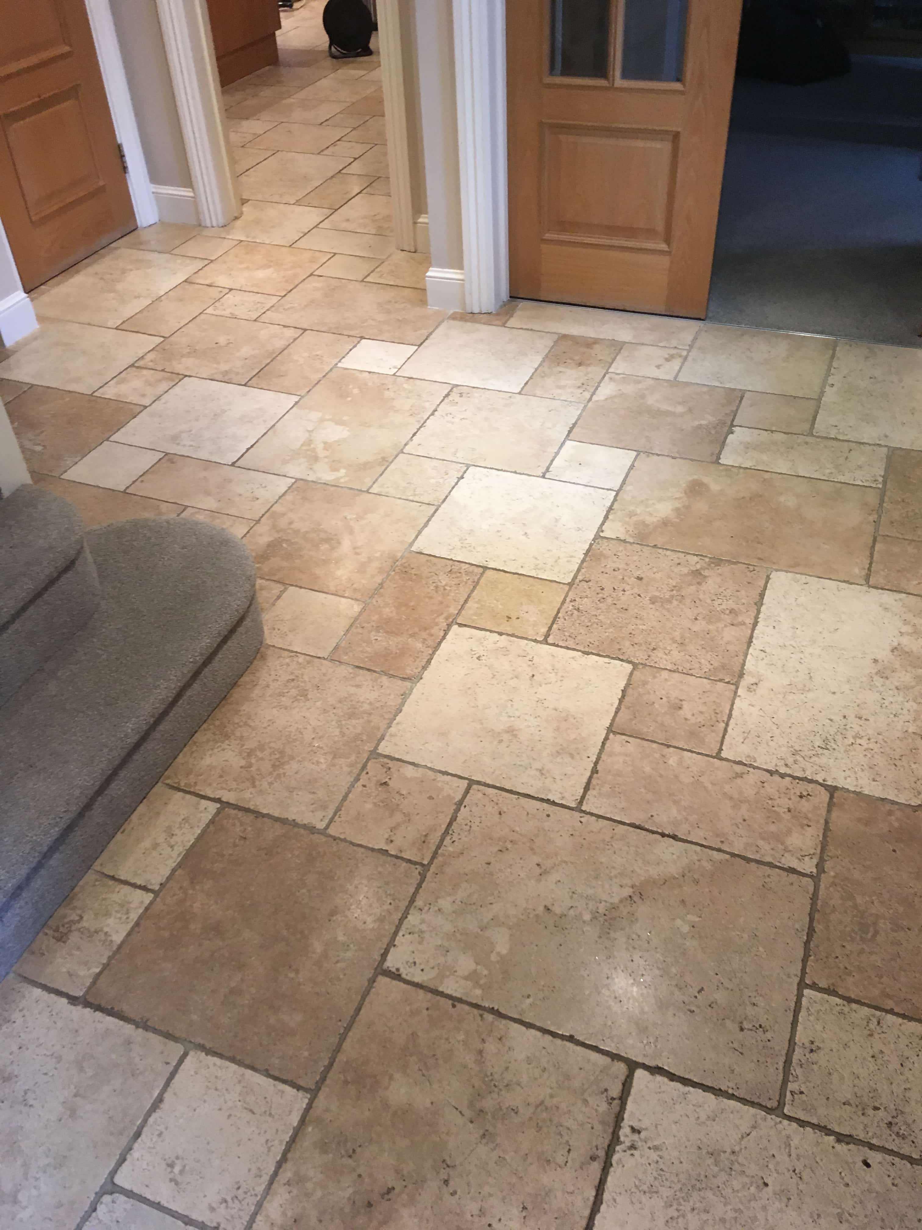 Travertine Tiled Floor Before Cleaning Sunbury-on-Thames
