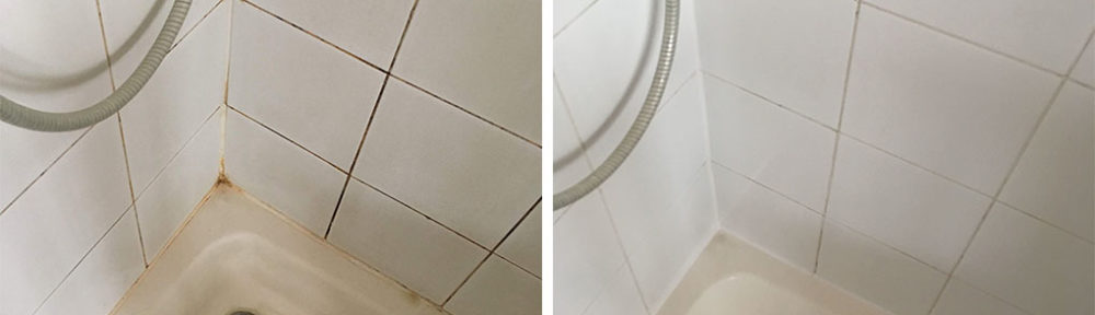 Deep Cleaning Grout in a Shepperton Ceramic Tiled Shower Cubicle
