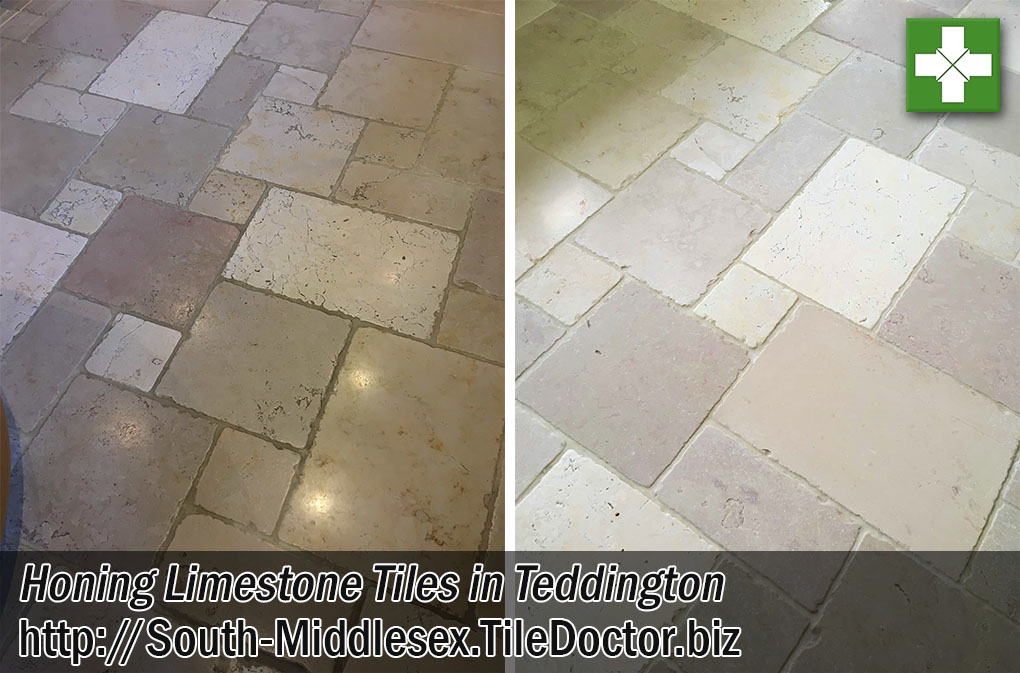 Limestone Tiled Kitchen Floor Before After Cleaning Teddington