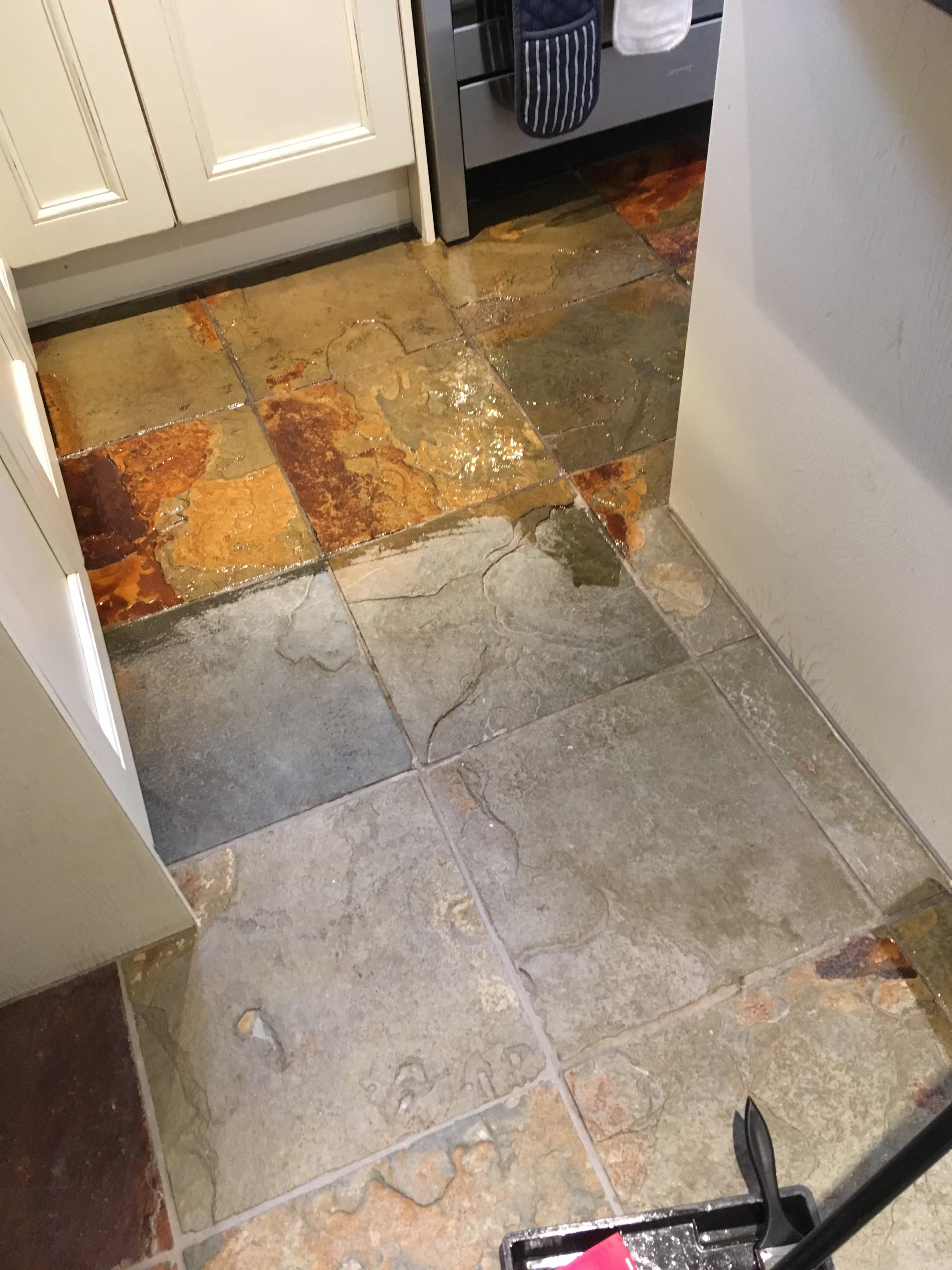 Multi-Coloured Slate Floor During Sealing Staines-upon-Thames