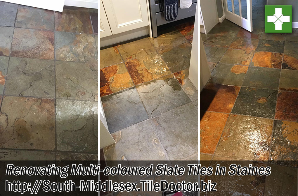 Multi-Coloured Slate Tiles Before After Cleaning Sealing Staines-Upon-Thames