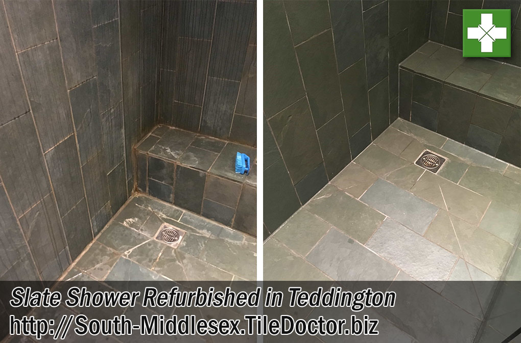 Slate Tiled Shower Before After Limescale Removal Teddington