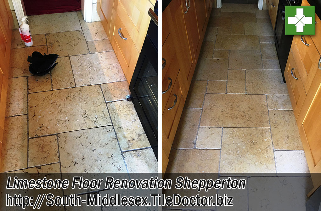 Limestone Kitchen Floor Before After Renovation Shepperton