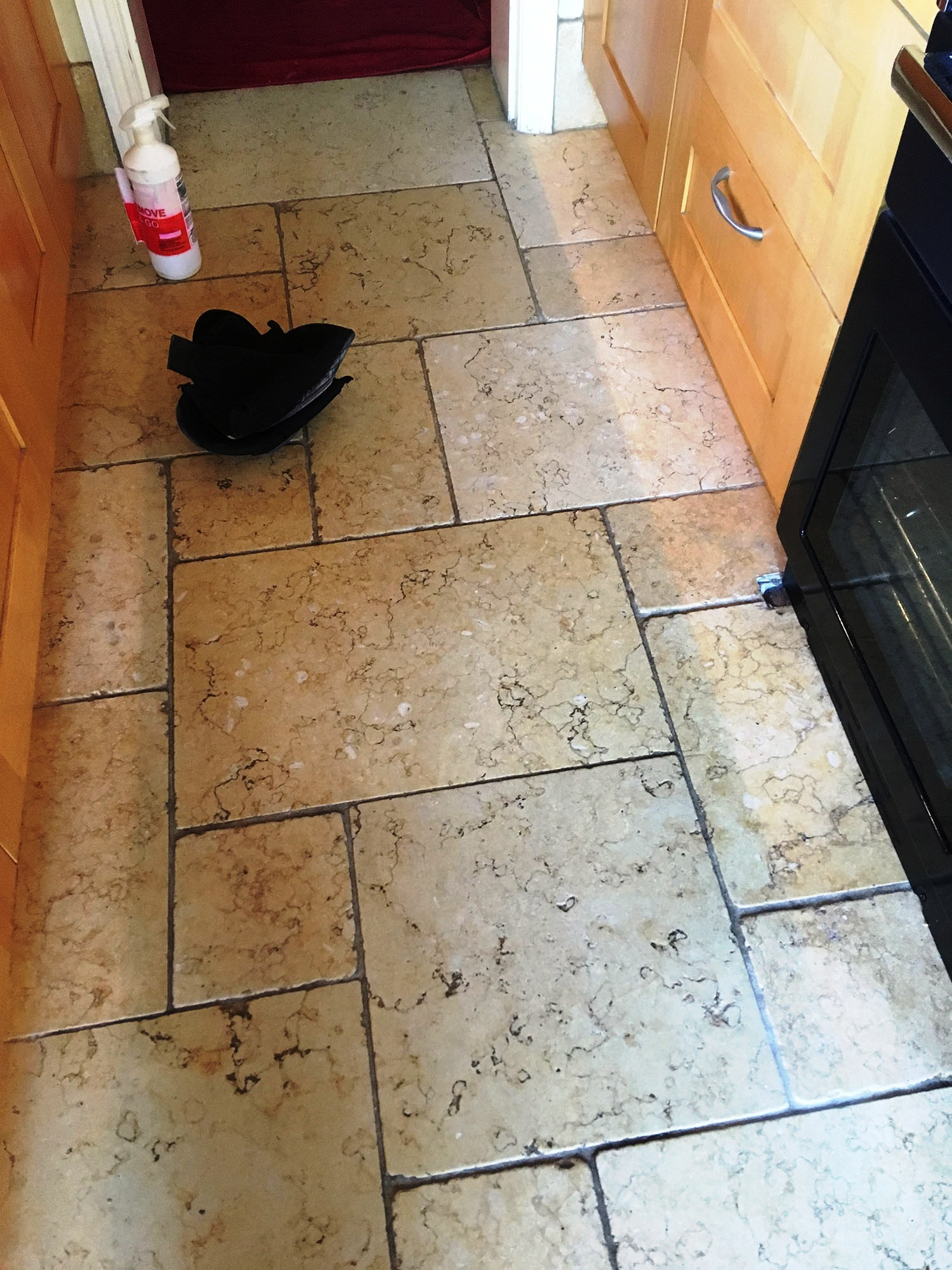 Limestone Kitchen Floor Before Cleaning Shepperton