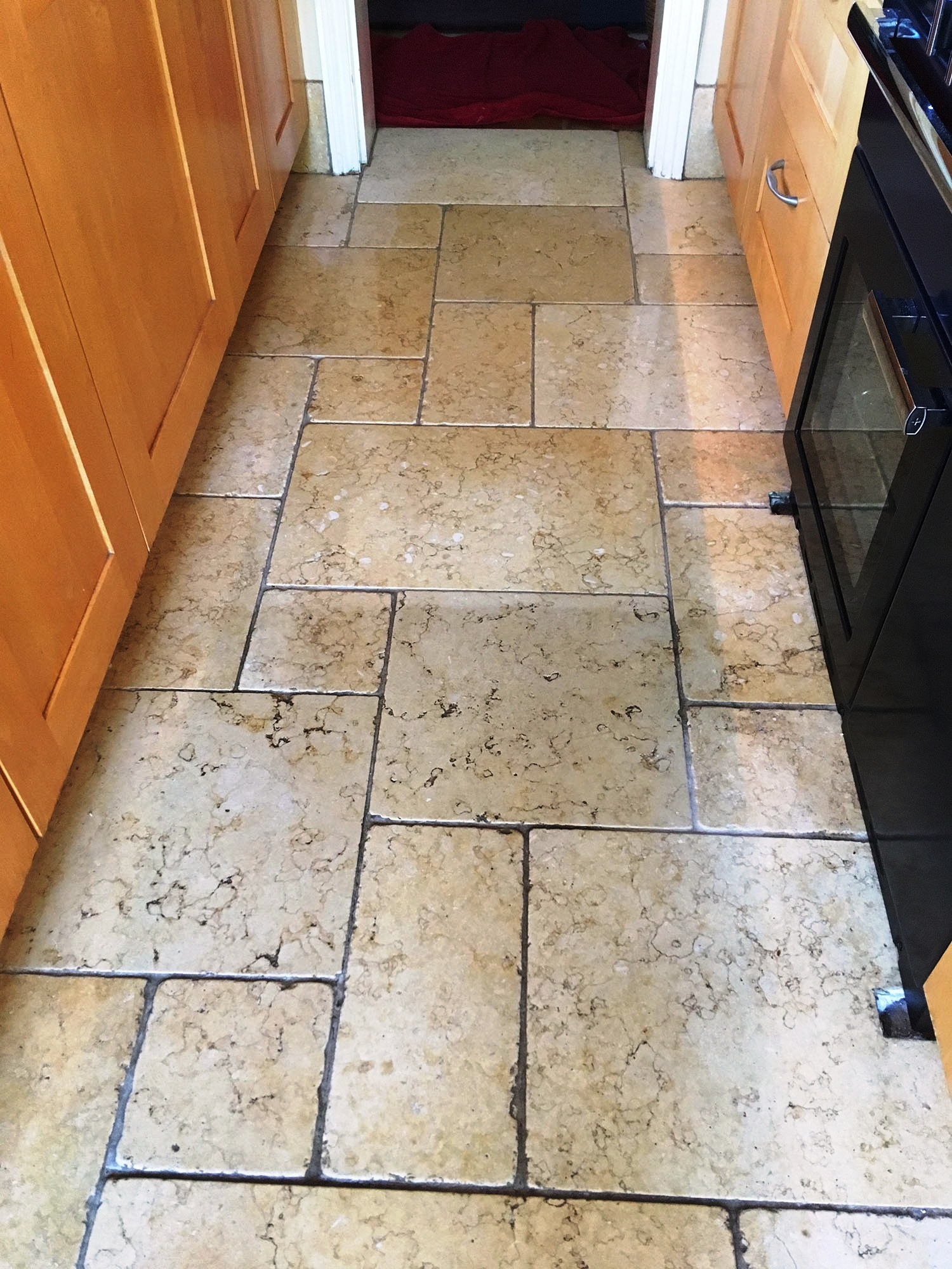 Limestone Kitchen Floor During Cleaning Shepperton