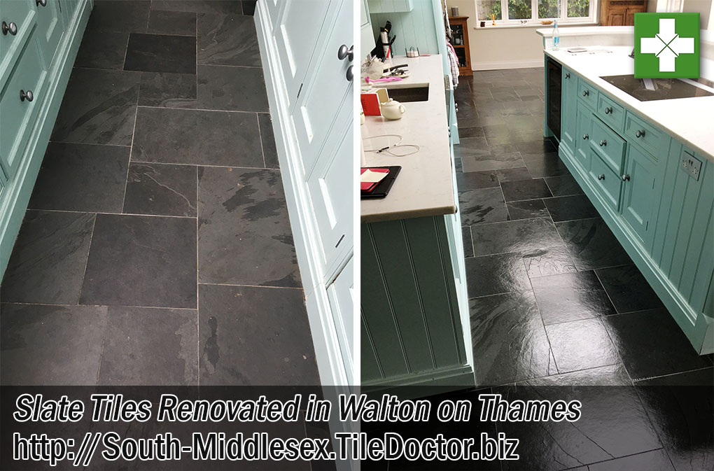 Slate Tiled Floor Before After Renovation Walton-on-Thames