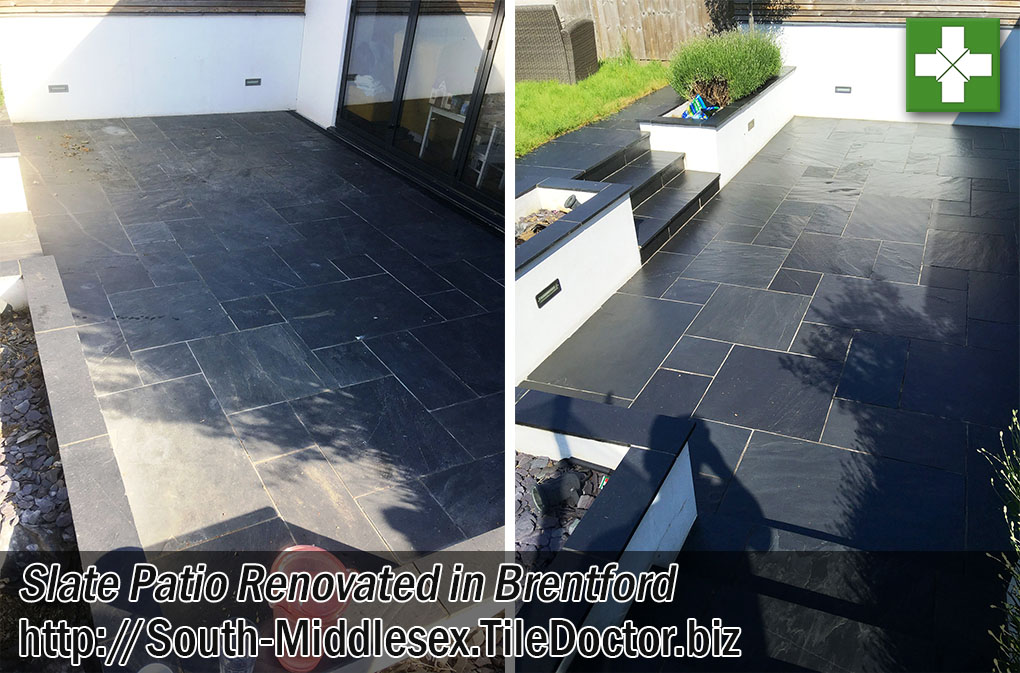 Slate Tiled Patio Before After Renovation Brentford