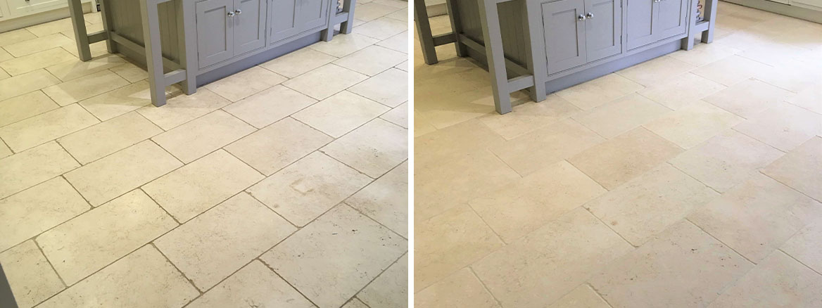 Limestone Kitchen Floor Before After Clean and Seal Shepperton