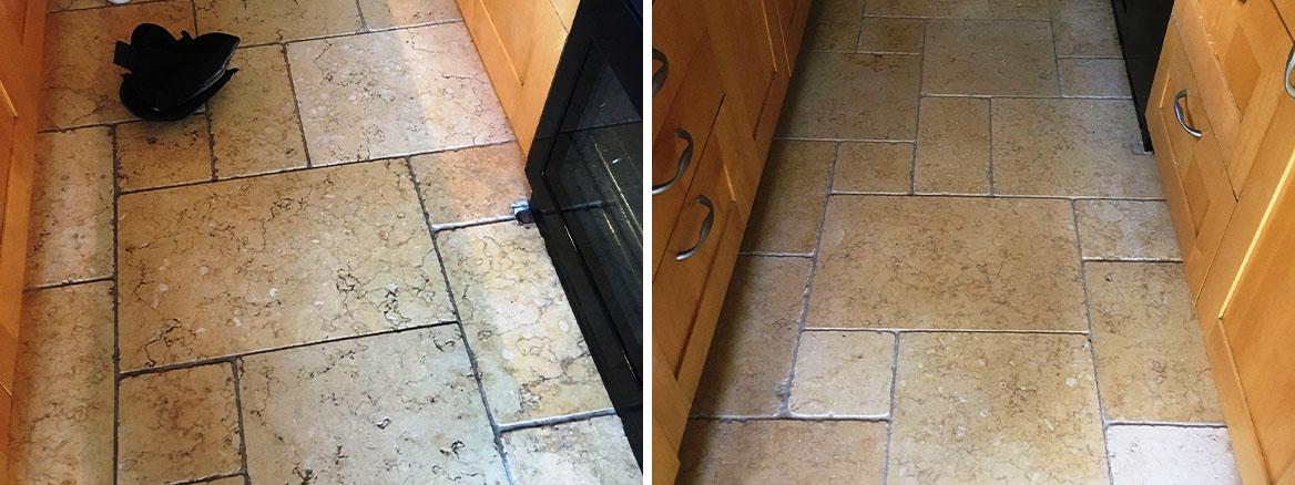 Limestone Kitchen Floor Before After Cleaning Shepperton
