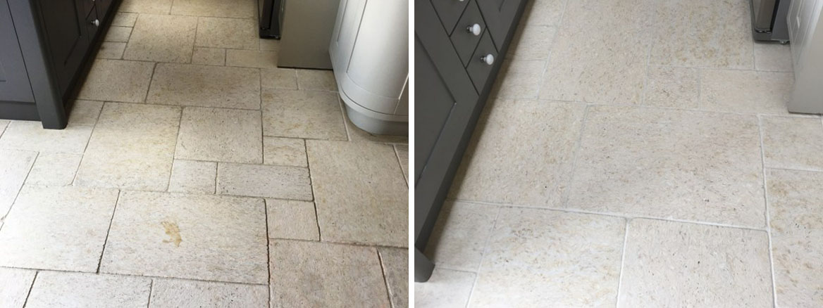 Limestone Tiled Floor Before After Cleaning Twickenham