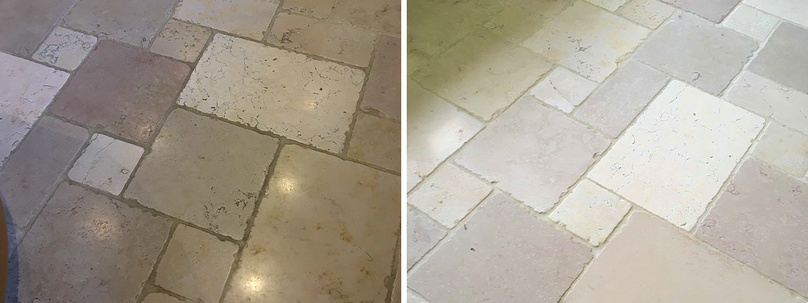 Limestone Tiled Floor Before After Cleaning in Teddington