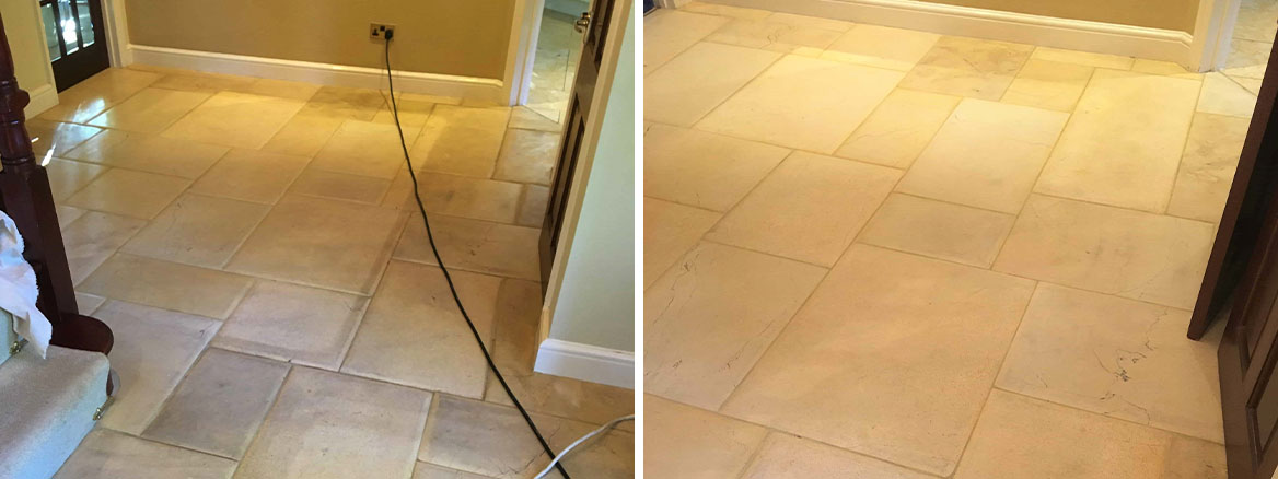 Limestone Tiled Hallway Before After Cleaning Twickenham