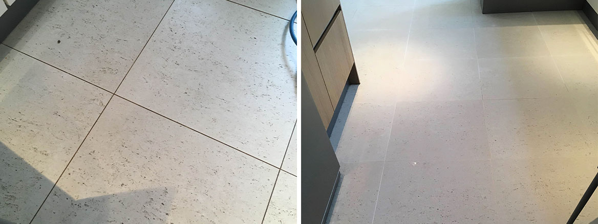 Porcelain Tiled Floor Before After Cleaning Twickenham