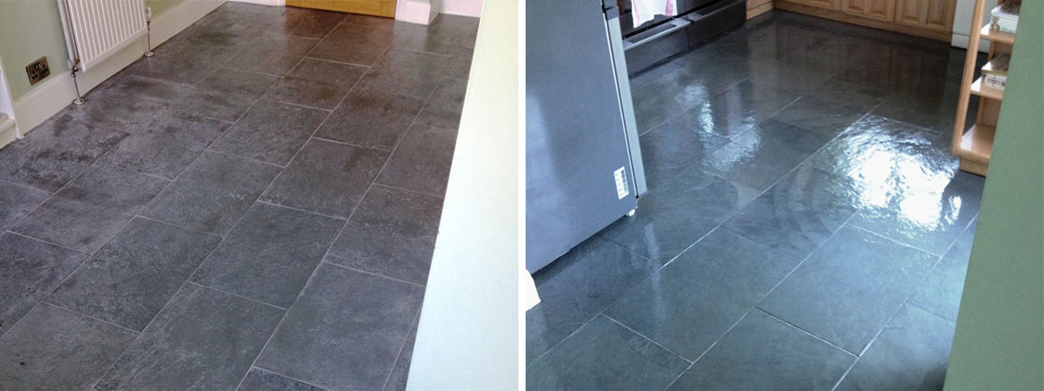 Slate Floor Before After Cleaning In Shepperton