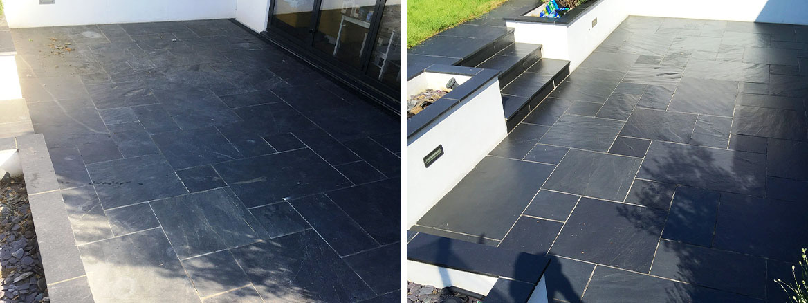 Slate Patio Before After Renovation Brentford