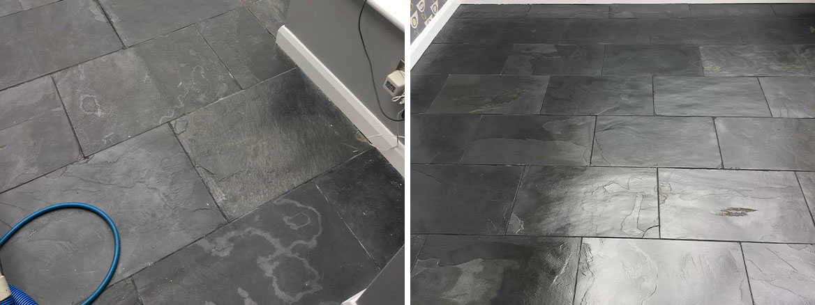 Slate Tiled Floor Hampton Before After Cleaning