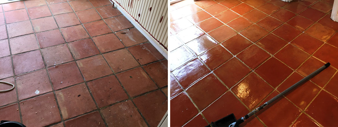 Terracotta Floor Before After Deep Clean in Twickenham