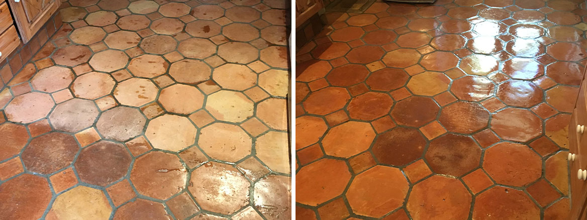 Terracotta Tiled Floor Before After Renovation Teddington