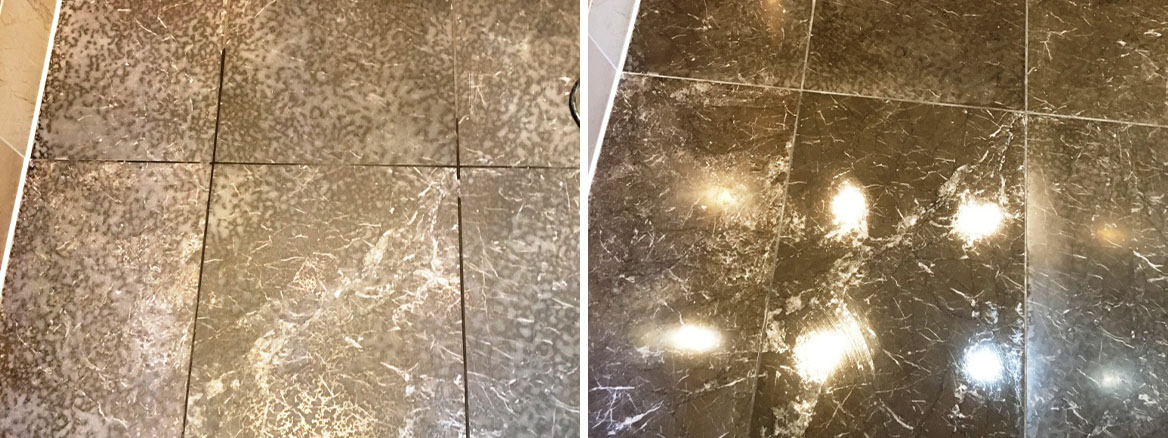 Tiled Marble Shower Floor Before After Cleaning Twickenham