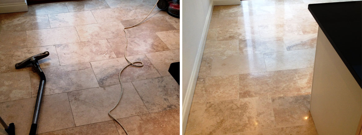 Polishing Travertine Tiled Kitchen Floor in Hampton