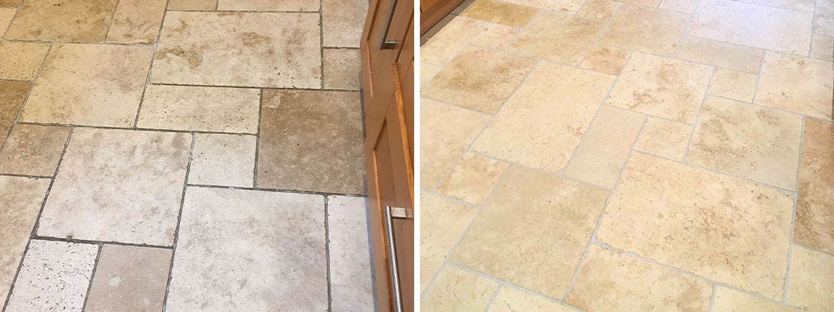 Travertine Tiled Floor Before After Cleaning Sunbury on Thames