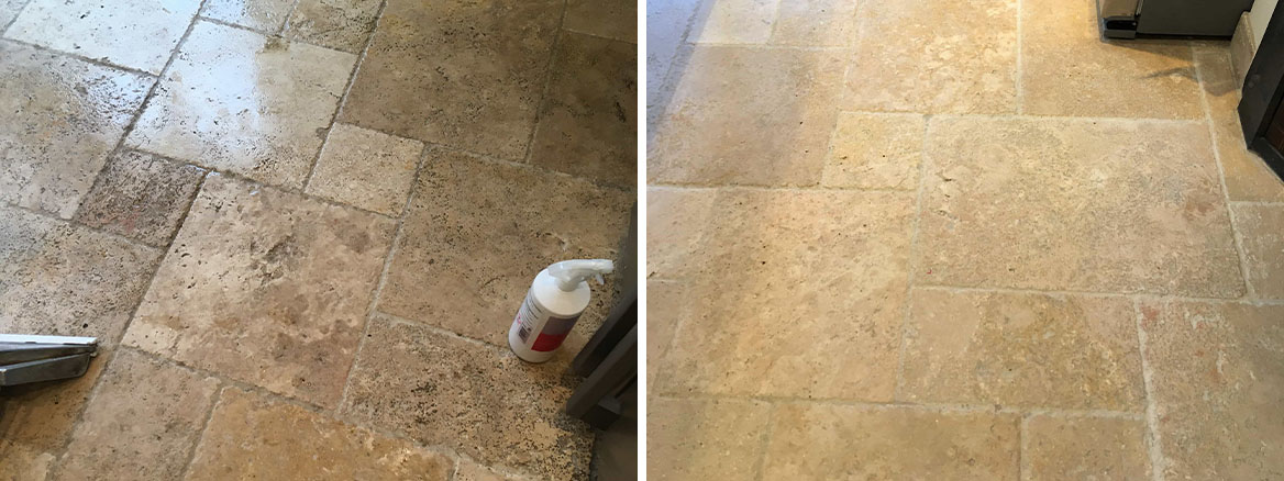 Travertine Tiled Kitchen Floor Cleaning Shepperton
