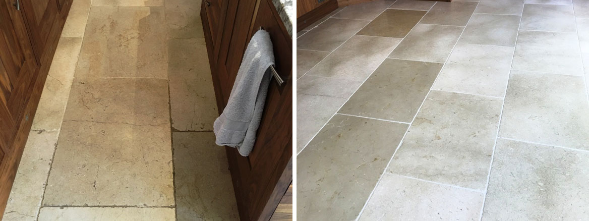 White Tumbled Marble Tiled Floor Refreshed in a Hampton Kitchen