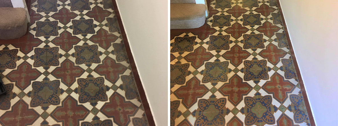 Victorian Encaustic Cement Hallway Tiles Before After Renovation Twickenham