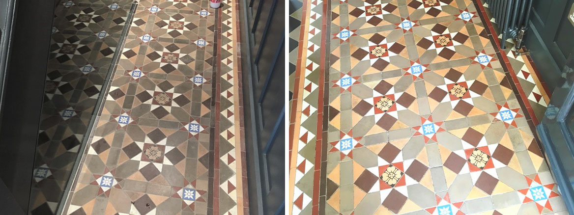 Victorian Tiled Hallway Before After Cleaning Hampton