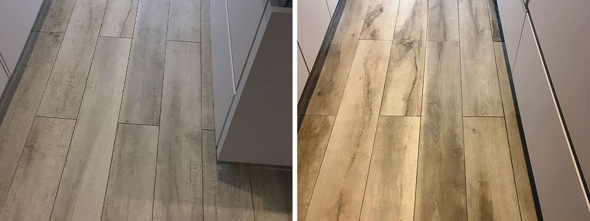 Grout Haze Removed from Wood Effect Porcelain Tiled Floor in Hampton