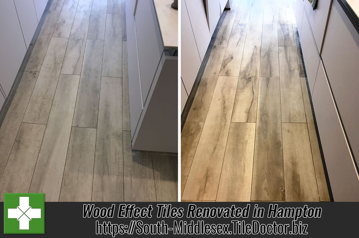 Wood Effect Porcelain Tiled Floor Before and After Grout Removal Hampton