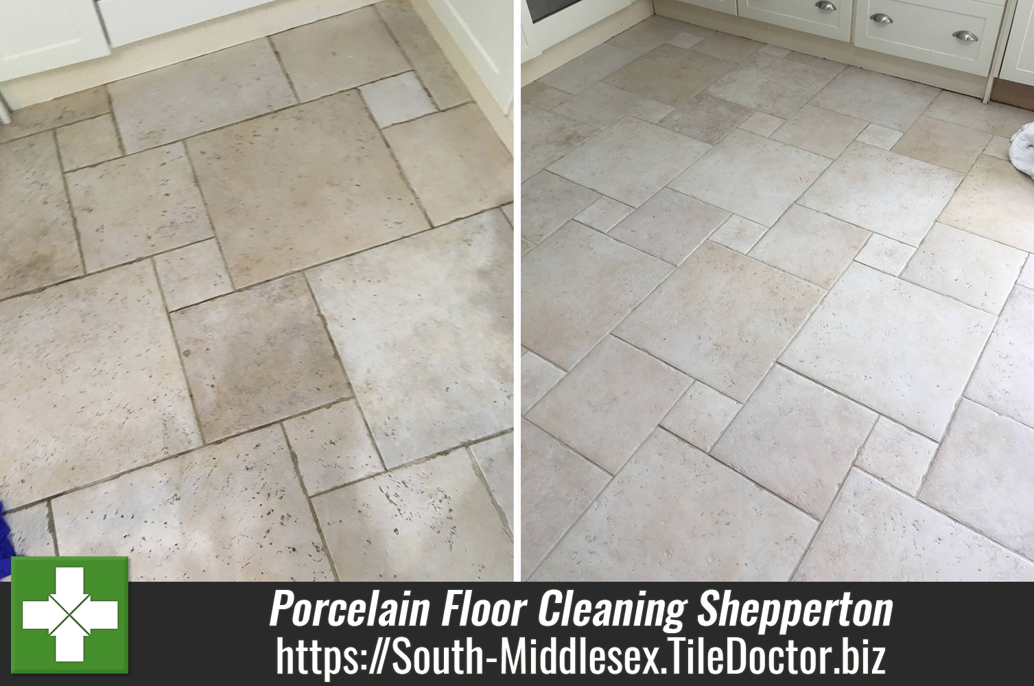 Porcelain Tiled Kitchen Floor Before After Cleaning Shepperton