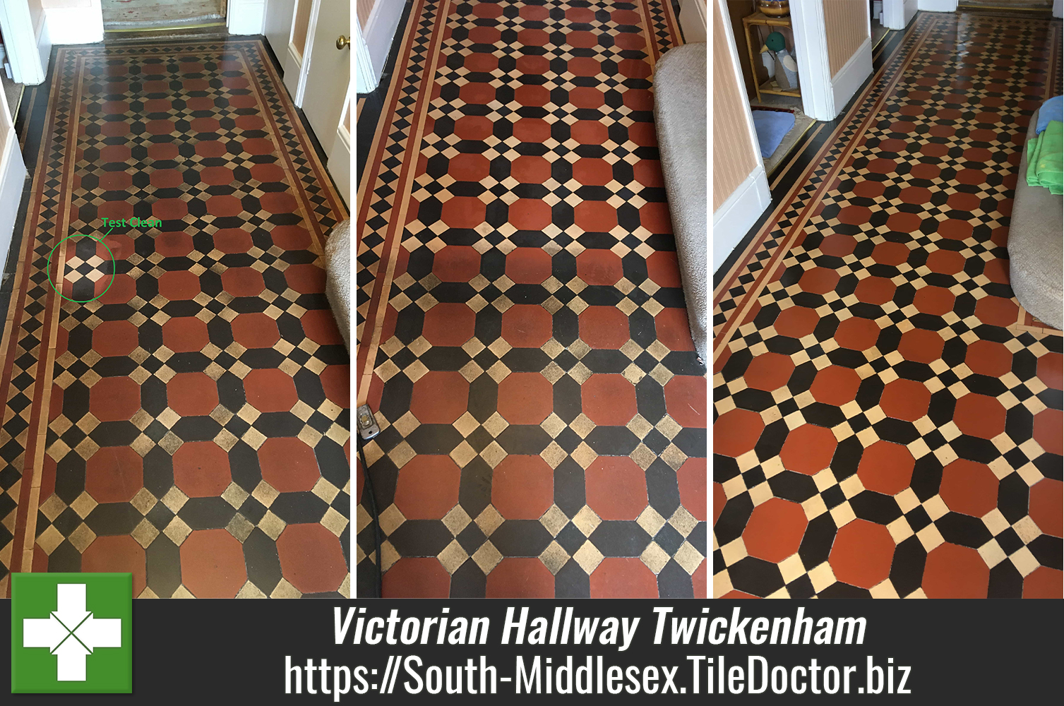 Dirty Victorian Floor Tiles Deep Cleaned and Sealed in Twickenham