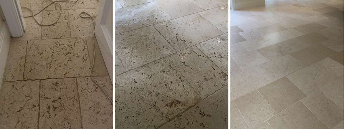 Travertine Floor Deep Cleaned and Sealed in Walton-On-Thames