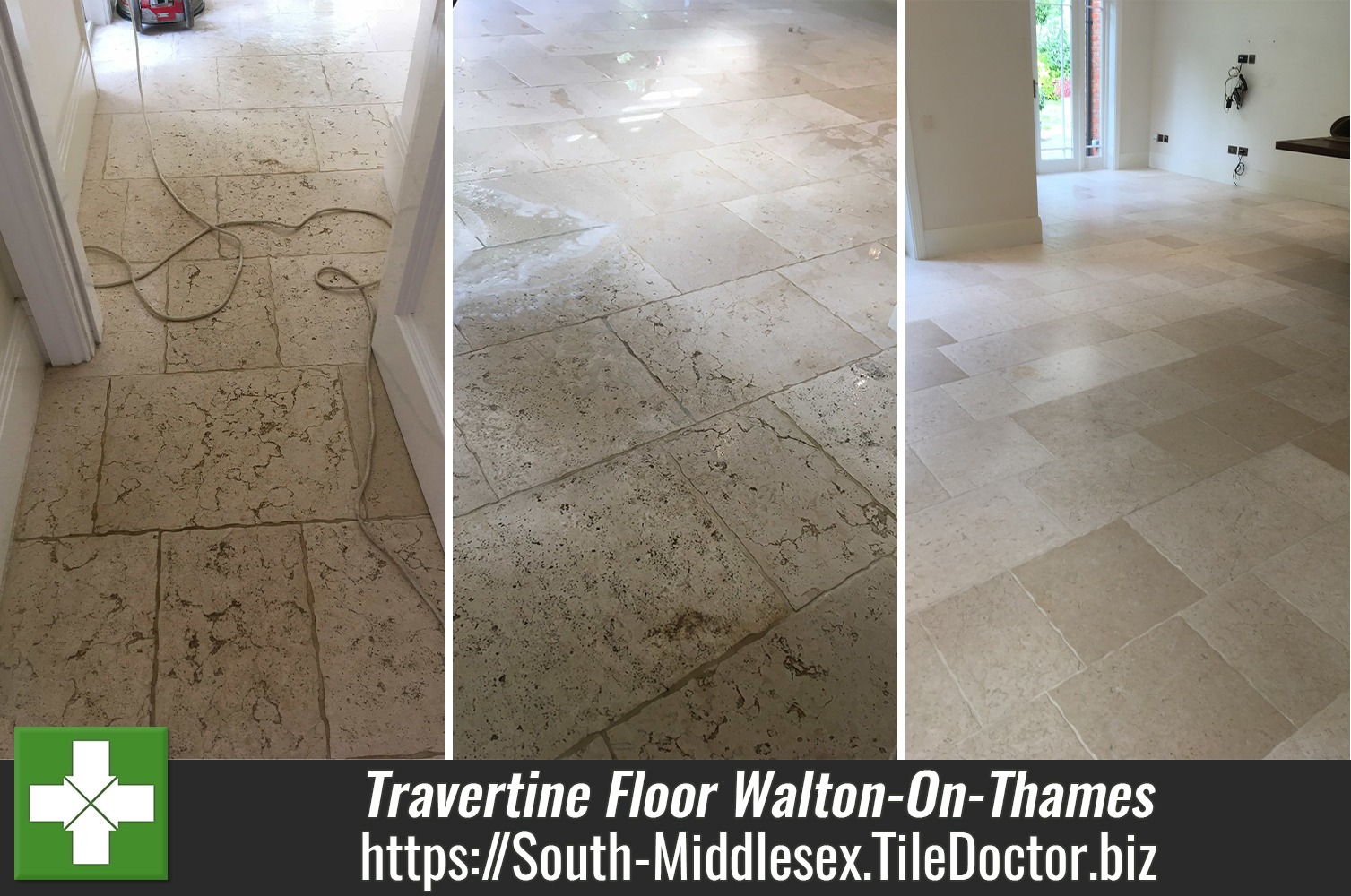 Travertine Floor Cleaned and Sealed in Walton-On-Thames